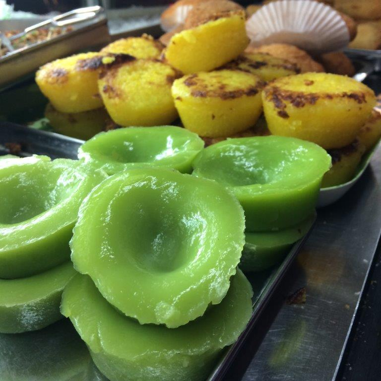 Pandan kuehs will be dressed with grated coconut