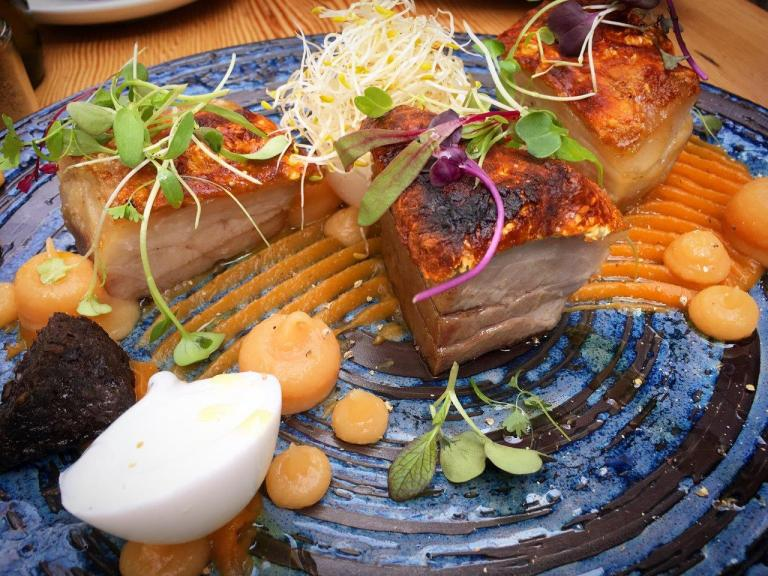 Crispy Pork Belly ($22), served with soft duck egg, spiced sweet potato puree, black pudding and quince gel. A damn awesome dish!